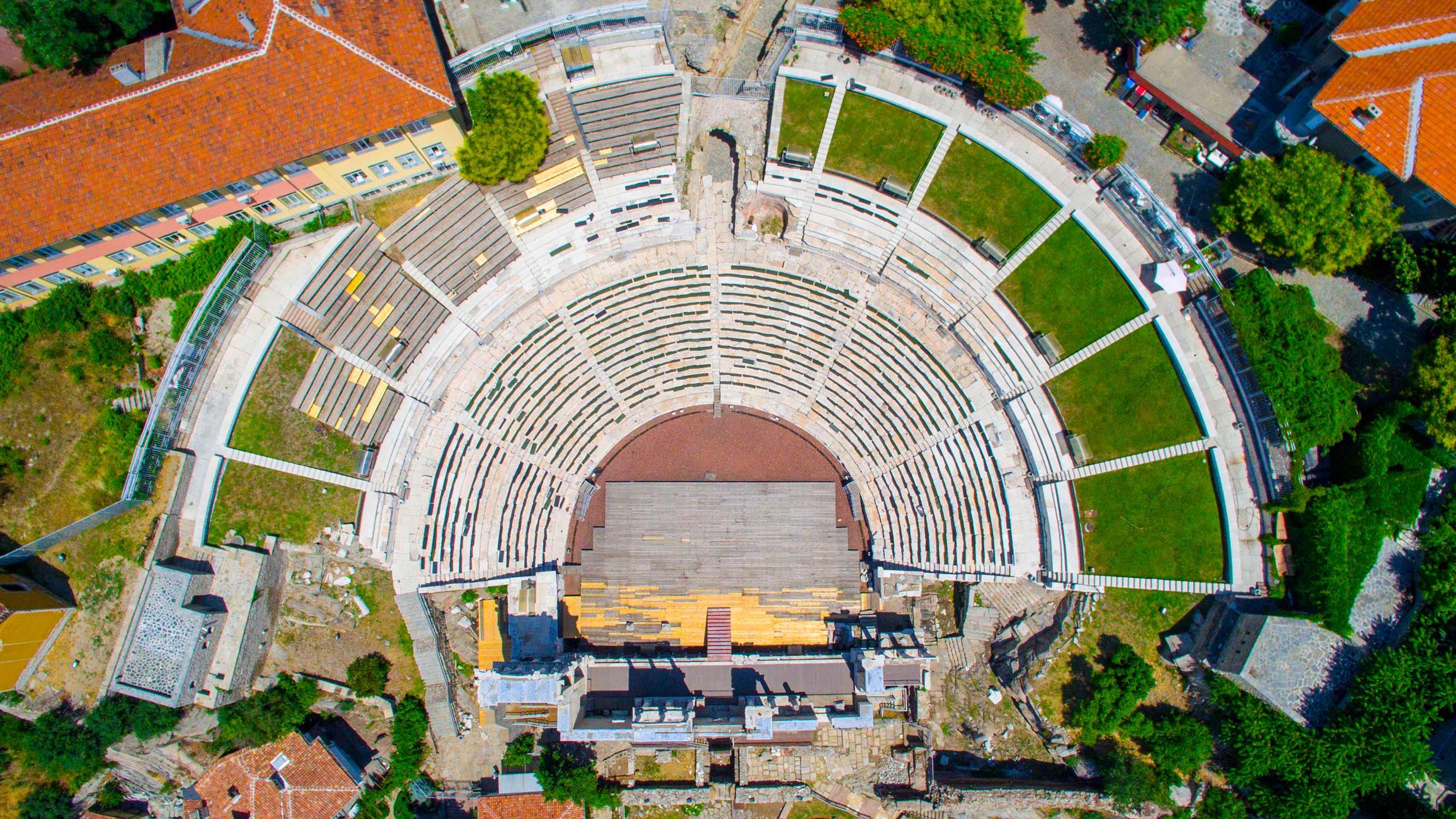 Заснемане с дрон Античен стадион пловдив